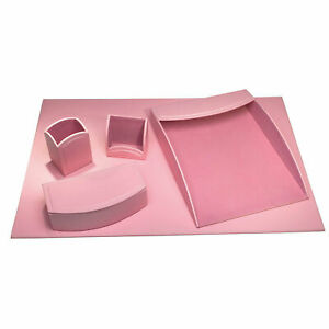 Darby Home Co Seder 5 Piece Leatherette Desk Set Cameo Pink
