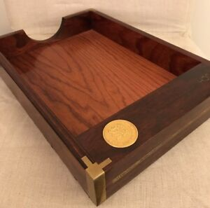 Merrill Lynch Mahogany Office Desk Paper Tray File Basket Brass Chairmans Club