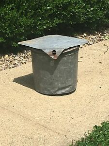 Antique Primitive Collectible Galvanized Maple Syrup Bucket W Lid