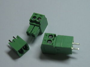 150 Pcs Screw Terminal Block Connector 3 81mm 2 Pin way Green Pluggable Type New