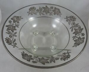 Vtg Centerpiece Fruit Candy Footed Bowl Glass W Sterling Silver Overlay Flowers