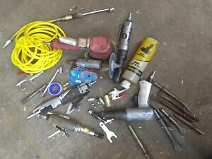 Lot Of Air Tools Used Da Sander Air Hammer Cut Off Die Grinder Rachet Wrench Saw