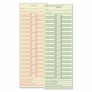 Tops Business Forms Time Card For Cincinnati Lathem Simplex Acroprint