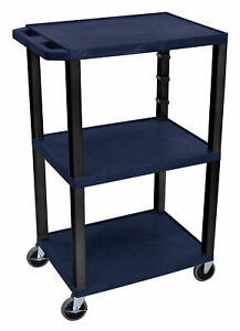 Offex Tuffy 3 Shelf Av Cart Black Red