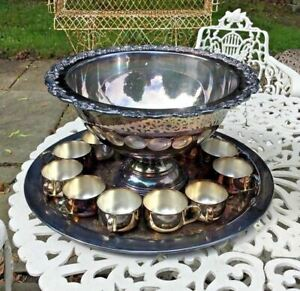 Vintage Antique Victorian Oneida Silver Plate Punch Bowl Tray 12 Cups