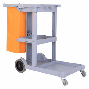 Homcom 3 Shelf Housekeeping Janitorial Cleaning Cart