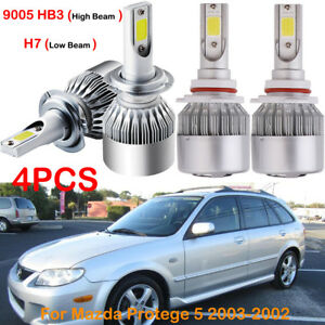 Front H7 9005 Hb3 Led Headlight Bulbs Kits Replace For Mazda Protege 5 2003 2002