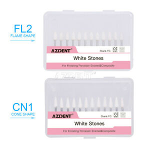 Dental White Polishing Stones Fl2 cn1 Flame Cone Shape Fg Burs Arkansas Stone