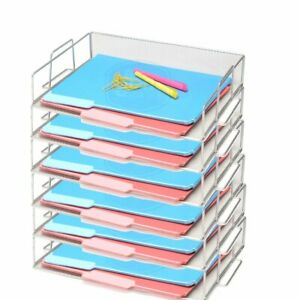 Bevins Steel Mesh Stackable Letter Paper Holder Shelf Tray Desktop Organizer Sil