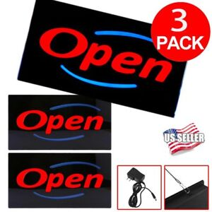 3 X Bright Led Open Sign Store Shop Club Business Neon Display Lights Resin Sk