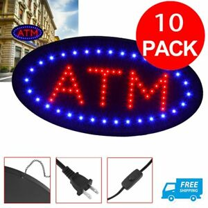 10 Pcs Atm Machine Sign Store Atm Light Box Atm Led Window Sign Ligh Signage Sk