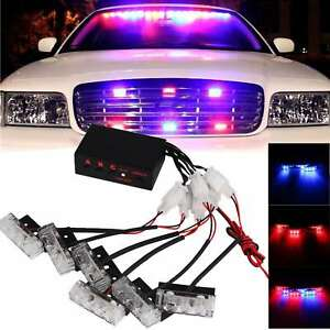 6x 3 Led Red Blue Car Dash Strobe Light Flash Emergency Police Warning Lamp Us
