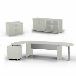 Medina Computer Desk With Pedestal Low Wall Cabinet And Lateral File