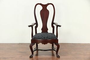 George Ii Style Vintage Large Mahogany Arm Chair New Upholstery 29327