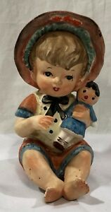 Vintage Porcelain Piano Baby Little Girl With Doll Baby Figurine 7 5