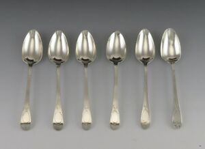 6 Antique 1796 English Sterling Silver Hand Engraved Coffee Or Tea Spoons