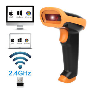 2400mhz Wireless Barcode Scanner Usb Cordless 1d Laser Automatic Barcode Reader