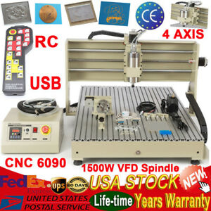4axis Cnc 6090 1500w Router Engraver Engraving Milling Machine Usb Vfd Spindle