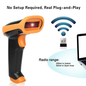 Usb Wireless Barcode Scanner Laser Barcode Reader W Storage Of Up To 2600 Code