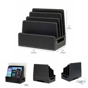 Black Faux Leather Charging Station For Smartphones Tablets And Laptops