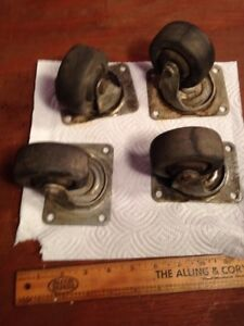 4 Vintage Industrial Factory Cart Swivel Casters 2 3 4 Hard Rubber Wheels