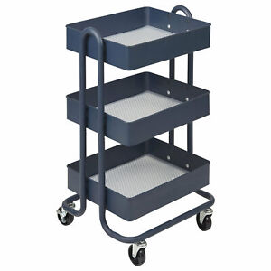 Ecr4kids 3 Tier Utility Rolling Cart Navy