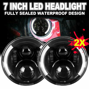 2x 7inch Round Led Headlights Hi Lo Beam Drl Light For Jeep Wrangler Jk Lj Tj