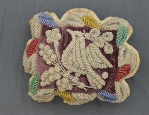 Antique Iroquois Hand Made Beaded Whimsy Beadwork Red Velvet Square Pin Cushion