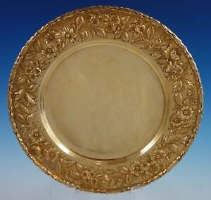 Repousse By Kirk Sterling Silver Charger Plate Vermeil 38 Hand Decorated 2711