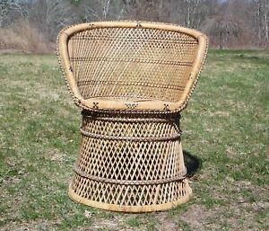 Vintage Woven Rattan Wicker Barrel Back Tub Chair