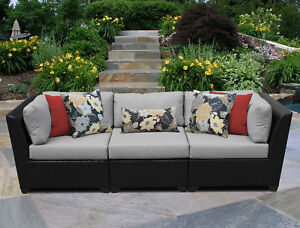 Tk Classics Barbados 3 Piece Patio Sofa With Cushions Gray