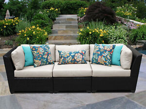 Tk Classics Barbados 3 Piece Patio Sofa With Cushions Beige