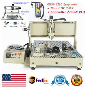 Usb 6090 Cnc Router Engraver 4 Axis mini Cnc 2417 With Controller 2200w Vfd Us