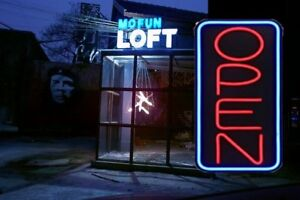 Neon Open Vertical Sign Light Restraunt Business Bar Bright Display Shining Yq
