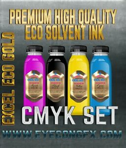 Cmyk Set Of High Quality Eco Solvent Ink Mutoh mimaki Roland etc