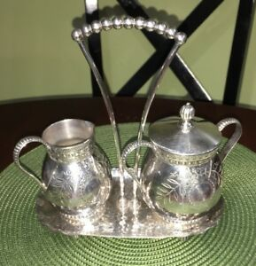 James Tufts Silver Plate Esthetic Period Ornate Creamer Sugar With Tray