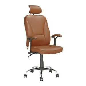 Atlin Designs Faux Leather Swivel Office Chair In Light Brown