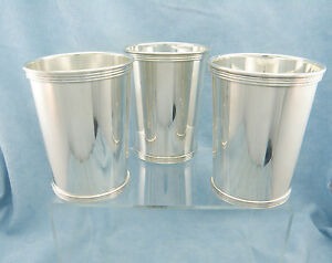 Vintage Set Of 3 Sterling Silver Mint Julep Cups By International No Mono