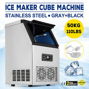 50kg Commercial Ice Maker Refrigeration 32 Cases Ice Cube Stainless Steel