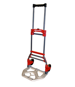 Milwaukee 150 lb Capacity Red Steel Folding Hand Truck Dolly Cart With Wheels