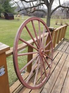 Vintage Wood Wagon Wheel Rustic Wheel 48 Inches Tall