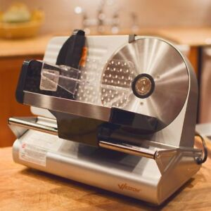 Electric Meat Slicer Stainless Steel Food Tray Rotary Blade Food Pusher New
