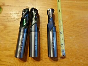 3 Solid 750 Carbide Ball End Mills 2 Fl Coated Usa Made