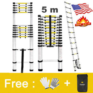 Hot Sale 16 4ft Telescopic Telescoping Loft Step Ladder Extension Foldable 331lb