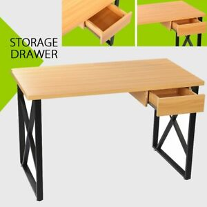 Corner Computer Desk Laptop Pc Table Wood Workstation Home Office With Drawer Yy