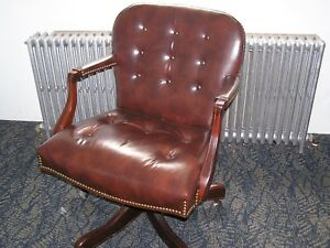 Tufted Leather Executive Office Chair Tilt Swivel Ox Blood brown Local Pick Up