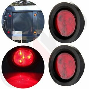 2 5 Round 4 Led Light Truck Trailer Side Marker Clearance Tail Lamp Set 2x Red