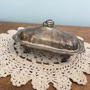 English Silver Mfg Butter Dish W Glass Liner Lid Made In Usa Vintage Footed