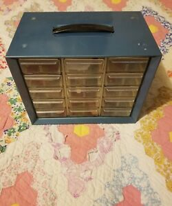 Vtg Akro mils Akron Ohio Metal 15 Drawer Storage Cabinet Bin Nuts Bolts Nail