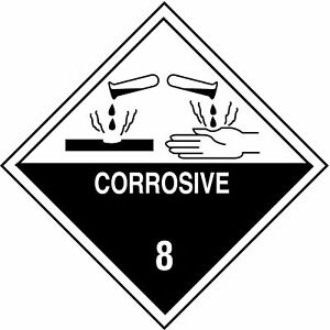 Shipping Labels Corrosive Legend Paper Adhesive Back 4 Width 4 Height